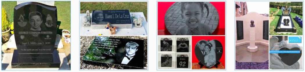 Laser etched headstones memorials uk granite photos bespoke